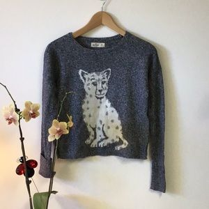 Hollister wool sweater with cat design